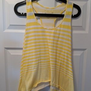 Yellow & white striped shark bite tank top